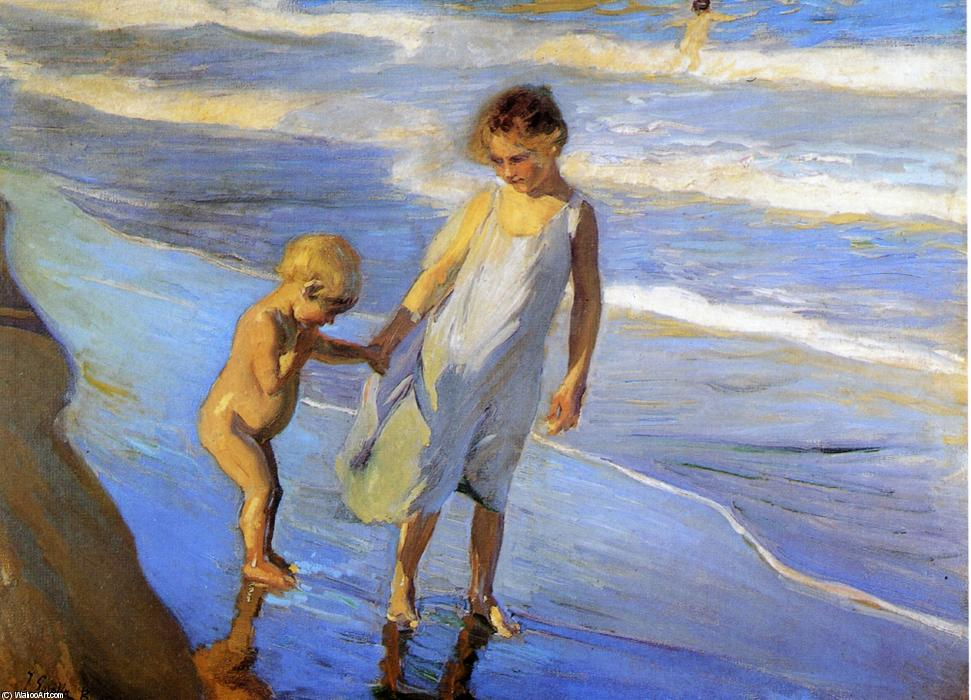 Joaquin Sorolla Y Bastida Valencia Two Little Girls On A Beach