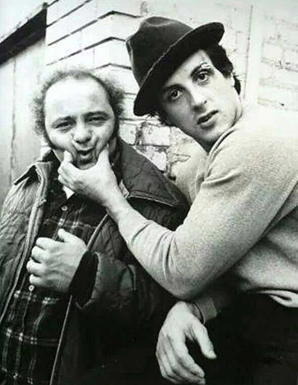 Burt Young And Sylvester Stallone On The Set Of Rocky