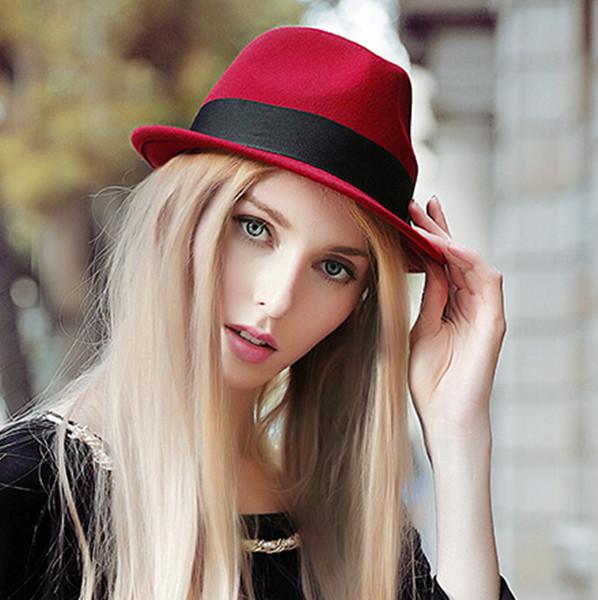 2015 Fashion Red Fedora Hat Women Winter Wool Hats20773