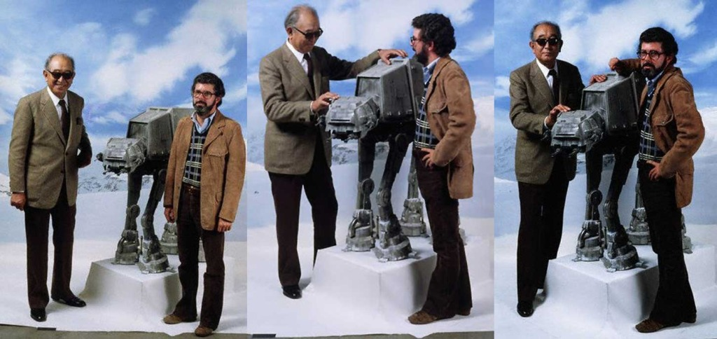Akira Kurosawa And George Lucas Posing With A Walker On The Set Of The Empire Strikes Back