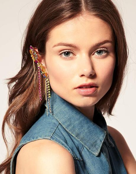 Asos Collection Multi Asos Statement Ear Cuff With Multi Coloured Stones Product 2 1410563 167055231 Large Flex
