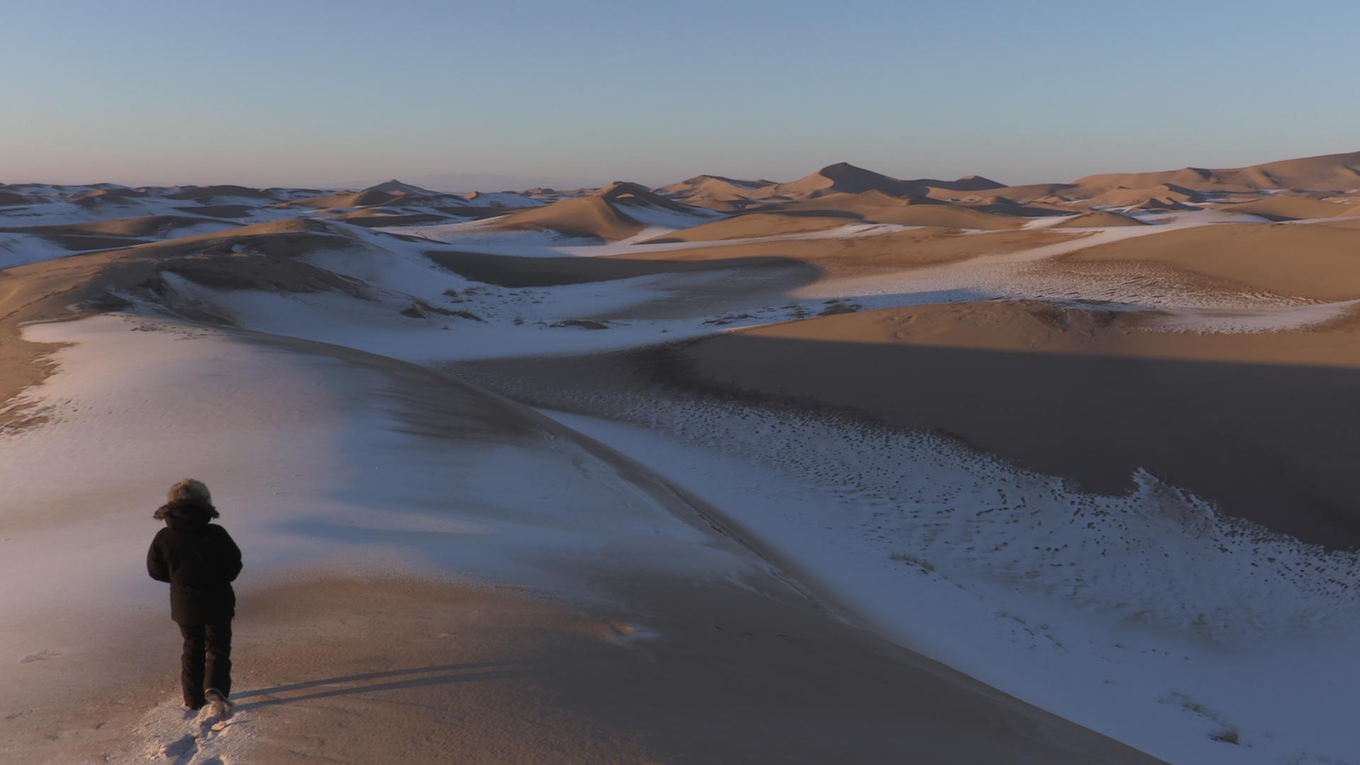 Nieve sobre el desierto de Gobi