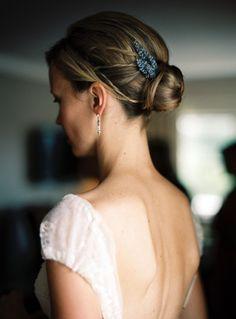 Detalle en el moño de la novia