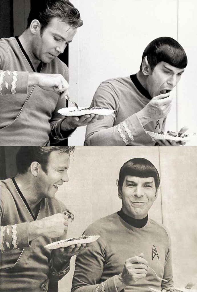 William Shatner And Leonard Nimoy Having Lunch On The Set Of Star Trek