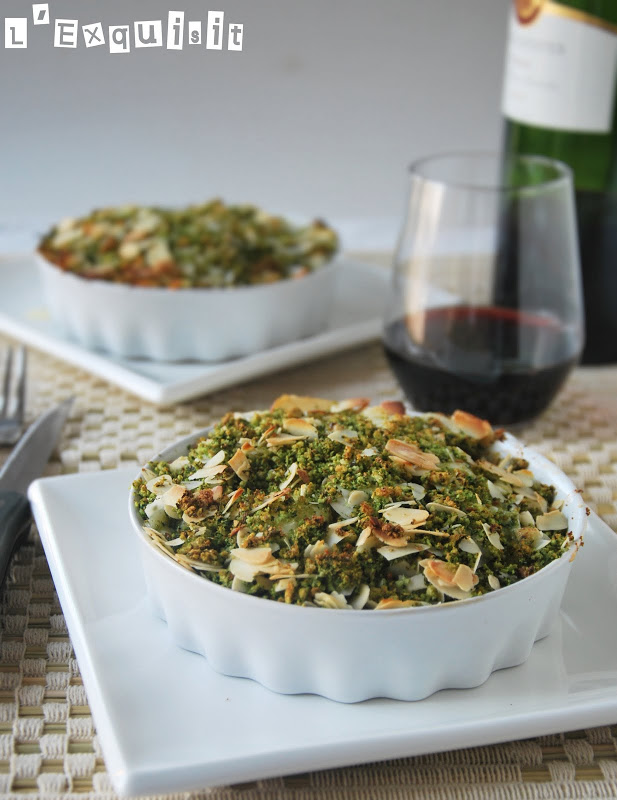 Gratín de verduras con roquefort y crujiente de hierbas