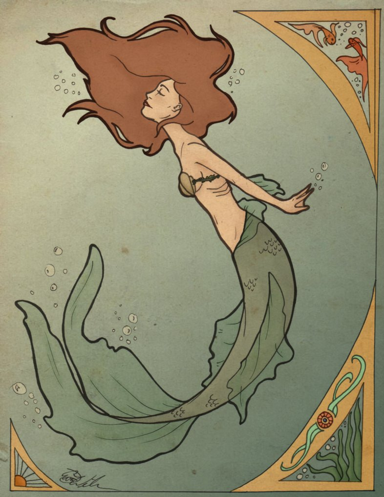 Art Nouveau Mermaid By Serenitymonkala