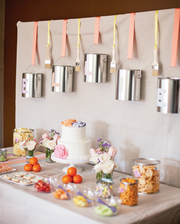 Pastel Art Party Dessert Table Side View