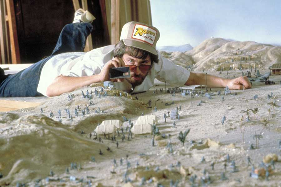 Steven Spielberg Planning A Shot On A Miniature Set For Indiana Jones And The Raiders Of The Lost Ark