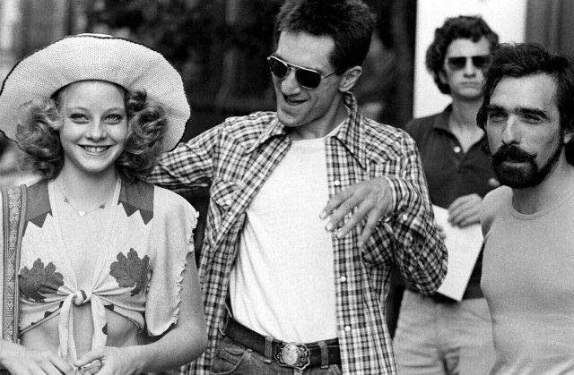 Jodie Foster Robert De Niro And Martin Scorsese On The Set Of Taxi Driver
