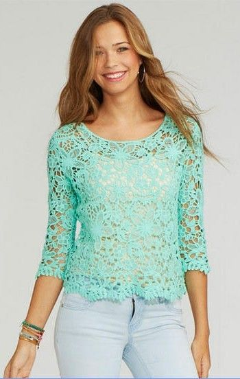 Pl1254692 Lace Long Sleeve Ladies Womens Shirts Blouses Green White Black