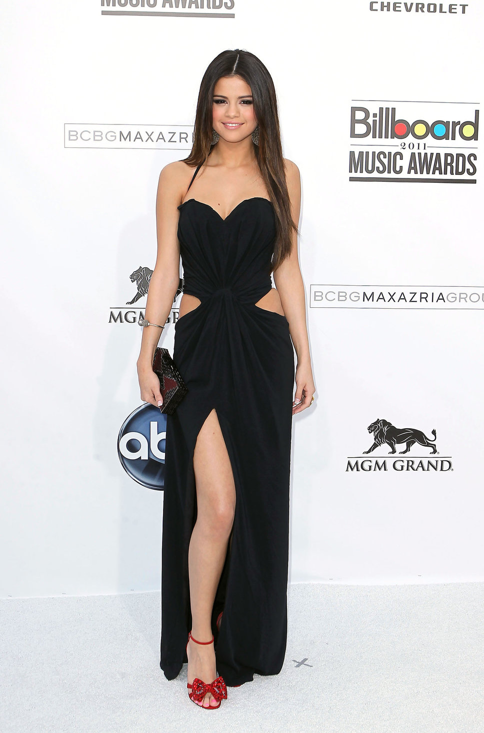 Selena Gomez Black Long Cut Ou