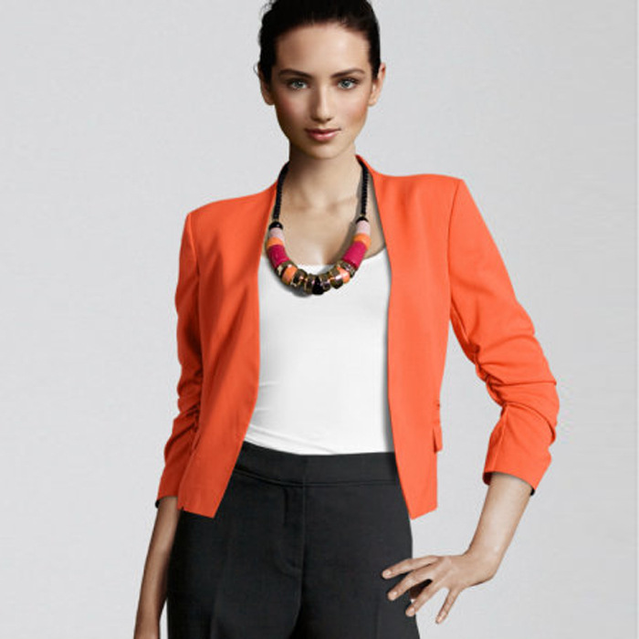 Free Shipping New 2014 European Brand Women Long Sleeve Cotton Blazers Candy Color Solid Jacket Suits