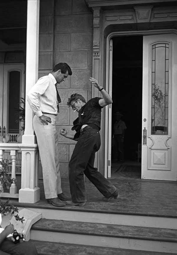 Rock Hudson And James Dean Rehearsing A Fight Scene On The Set Of Giant