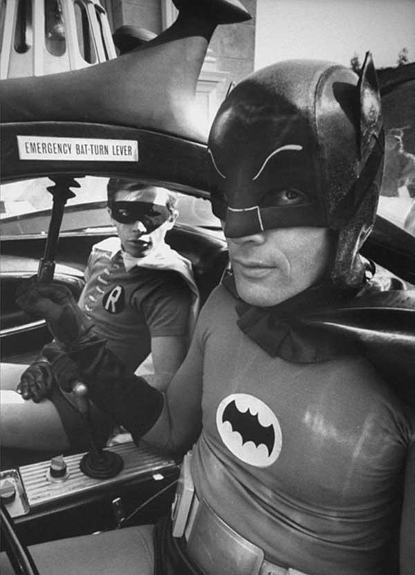 Burt Ward And Adam West On The Set Of Batman