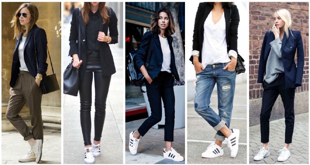 Tenis blancos + blazer obscuro