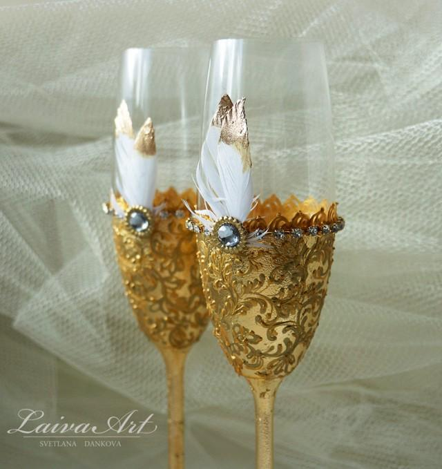 Gold Wedding Champagne Flutes Wedding Champagne Glasses Gatsby Style