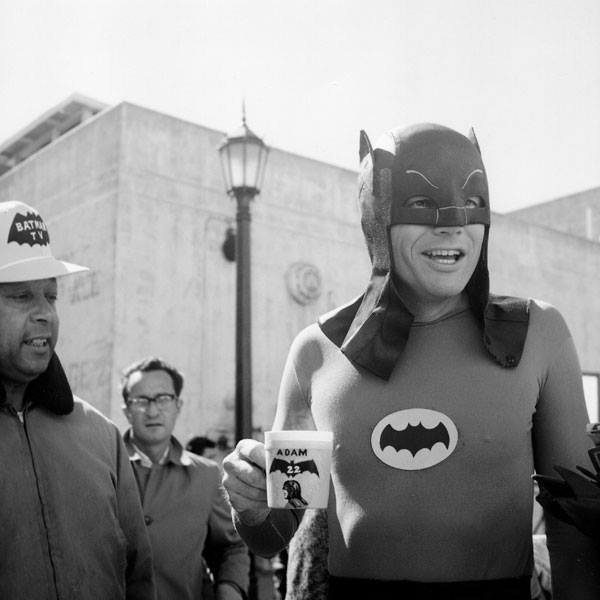 Adam West On The Set Of The 1960 S Batman Tv Series