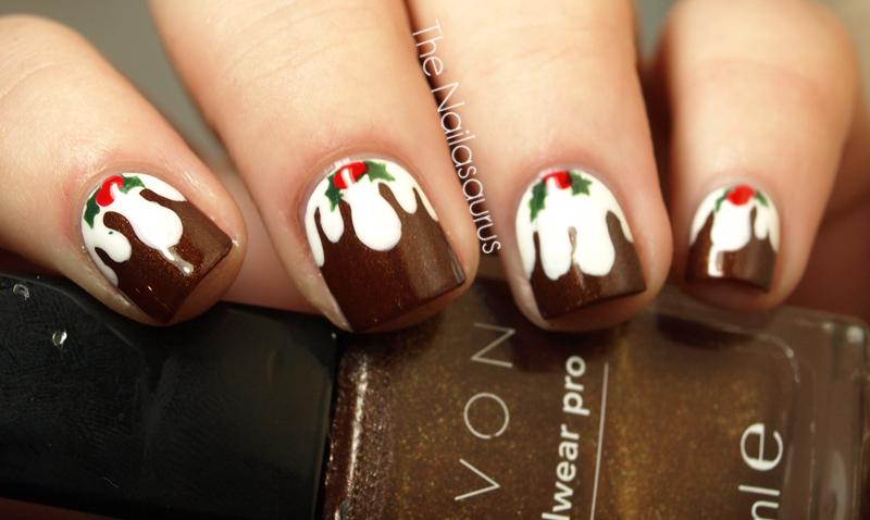 Day 09 Christmas Pudding Nail Art 033