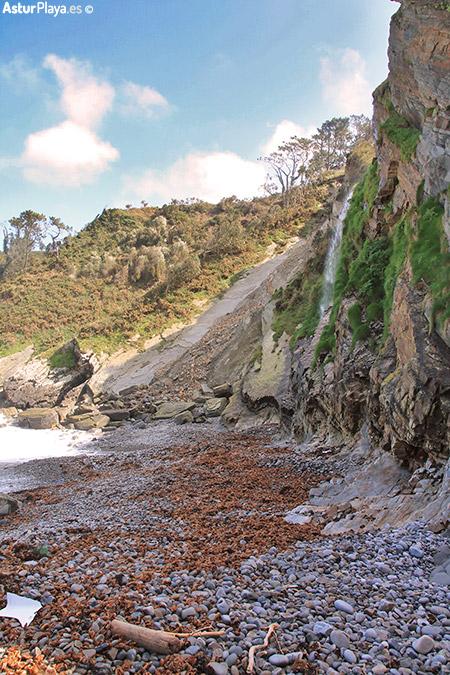 Cambaredo Beach Waterfall Asturias