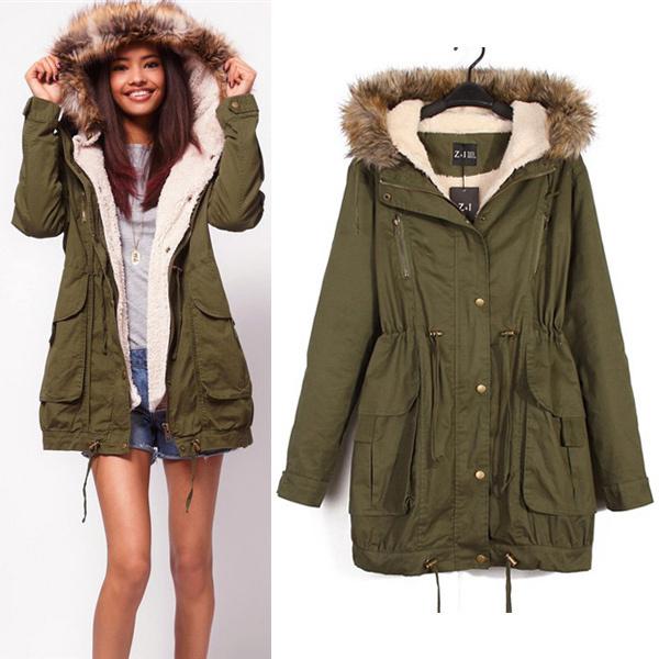 Women Winter Warm Damen Army Mantel Jacke Kapuze Fleece Jacke Blogger Parka Hipster Trend Hot