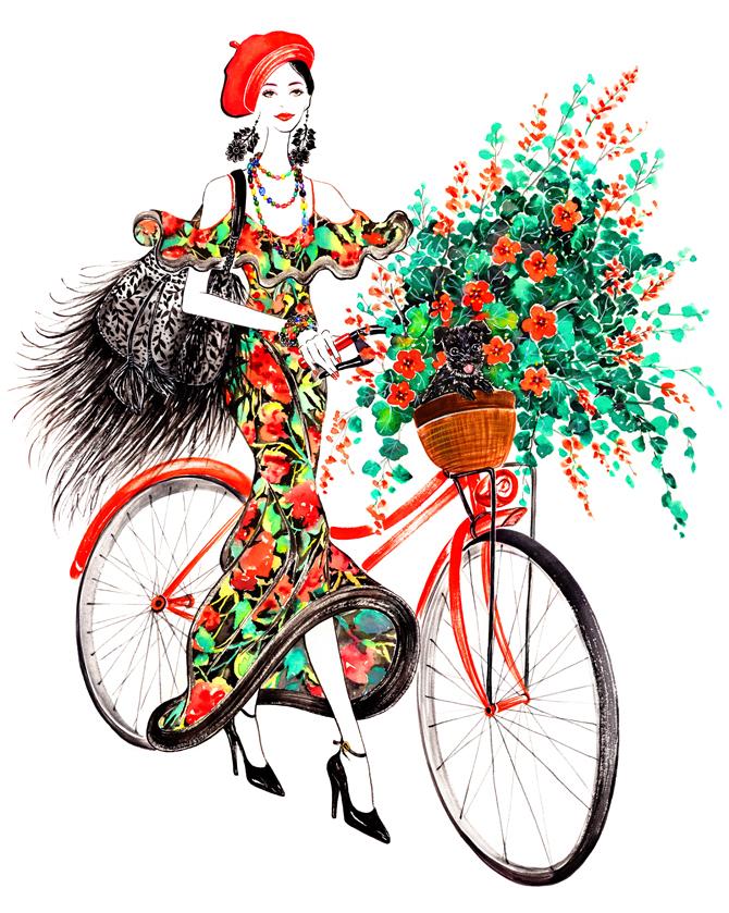 Sunnygu Bikegirl Ralphlauren Red