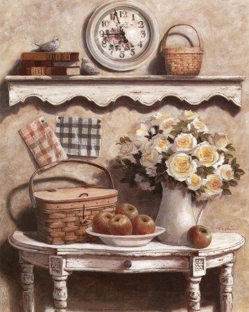 136 21575 Rosas Blancas Y Cesta Posters