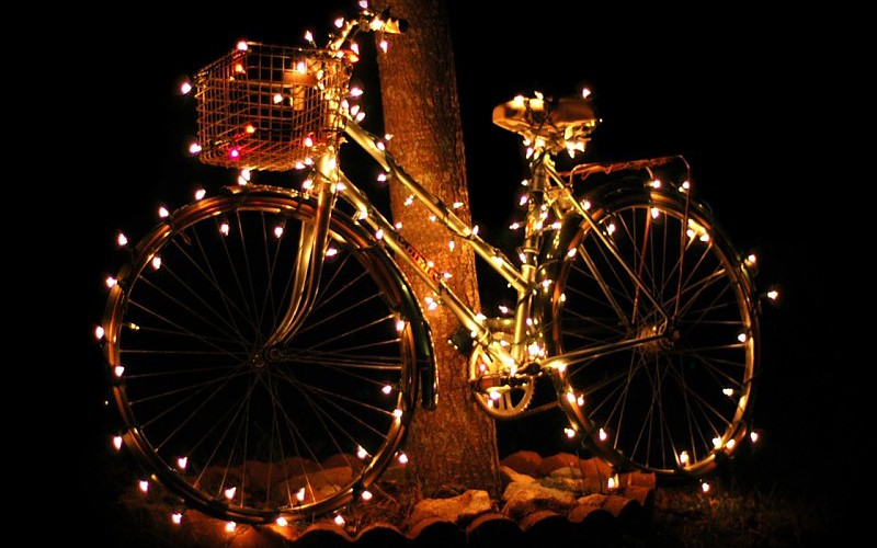 Bike Bicycles Christmas Christmas Lights Wallpaper 481845