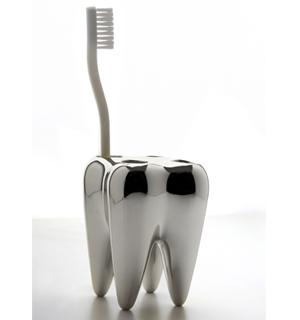 Large Image Silver Toothbrush Holder