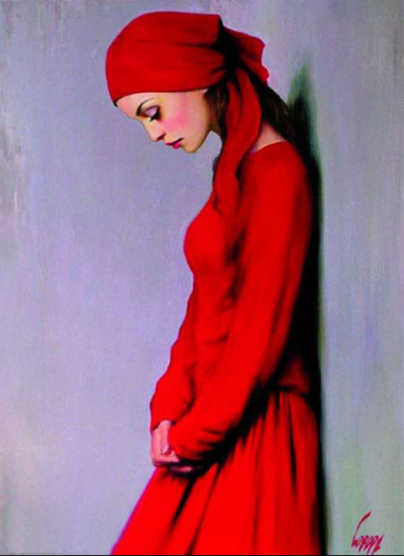 Lady In Red Taras Loboda 1961 Ukrainian Portrait Painter Tutt Art 10