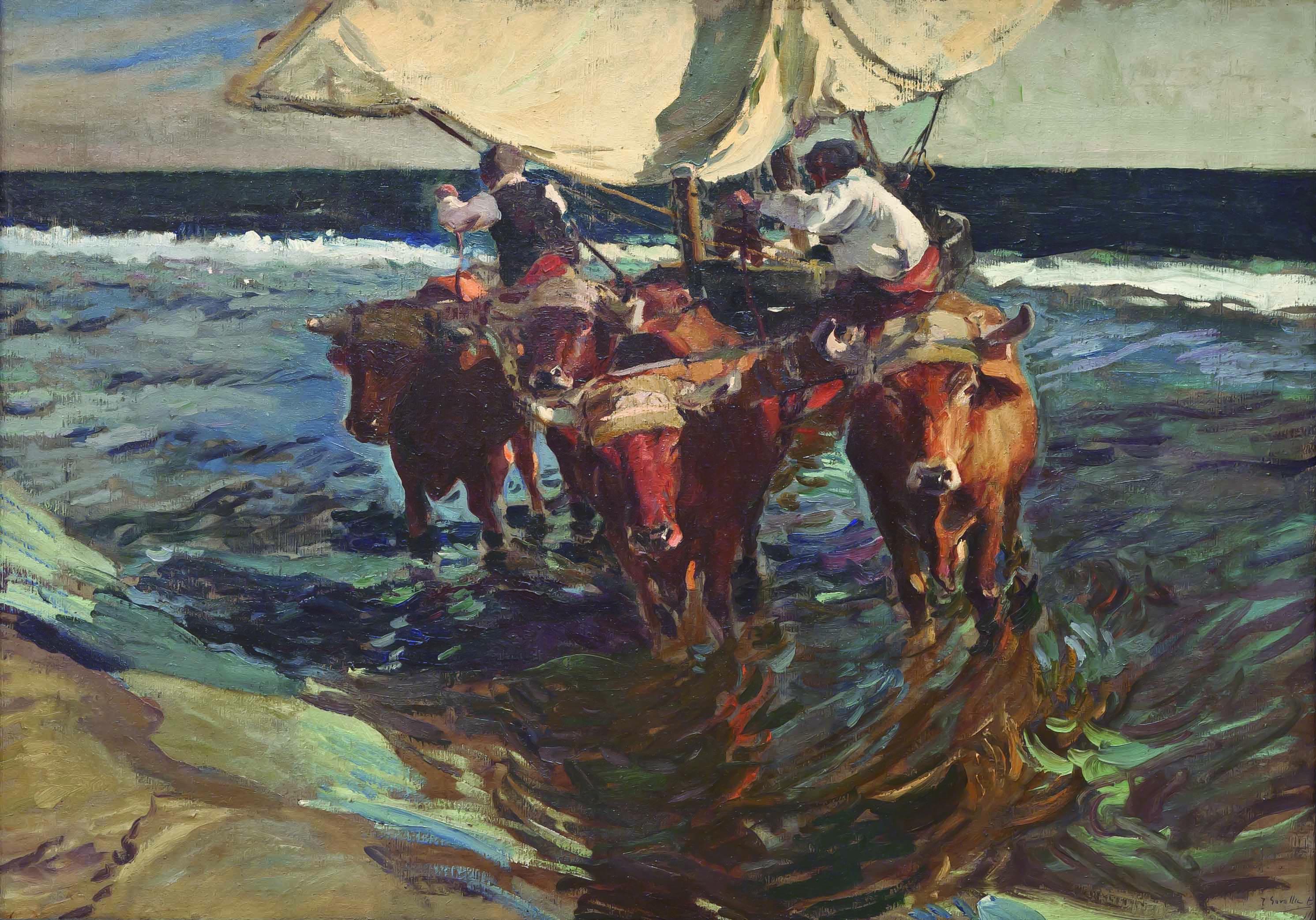 Bueyes Arreando Barcas 1909 De Joaqu C3 Adn Sorolla Bastida