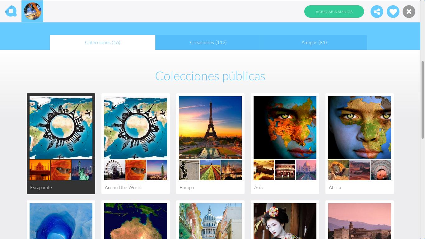 Perfil de otro usuario: colecciones públicas