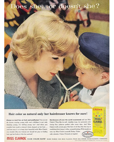 """11.Clairol, """"Does she... or doesn't she?"""" 1957"""