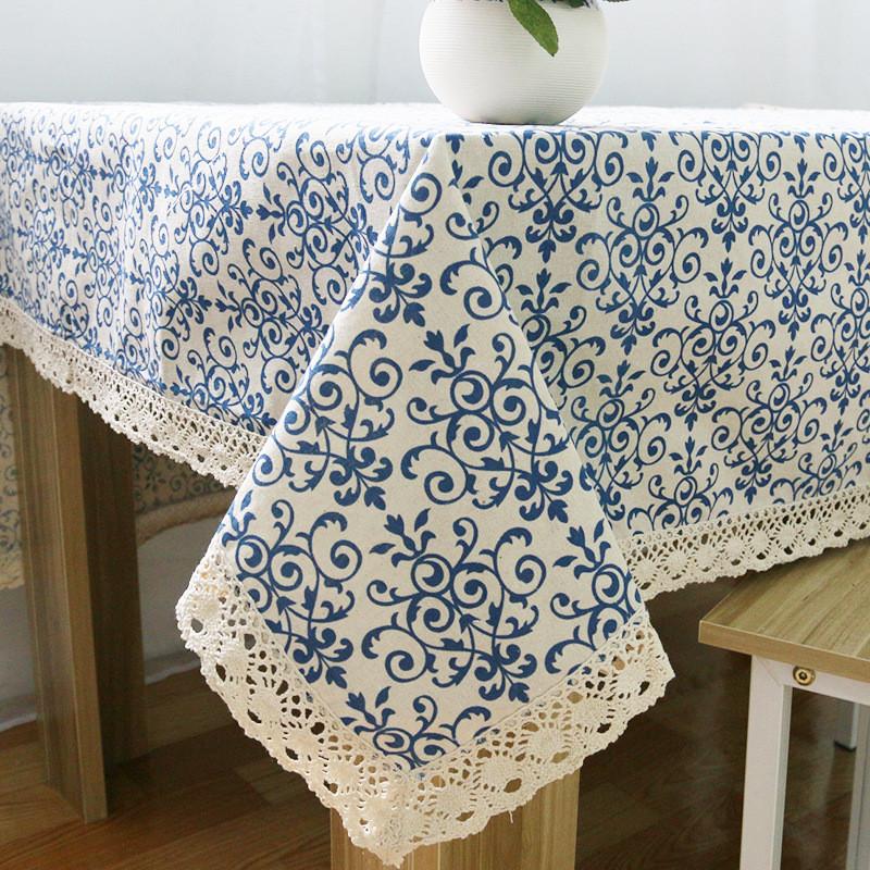 Vintage Cubierta De Tabla Porcelana Azul Cl Aacute