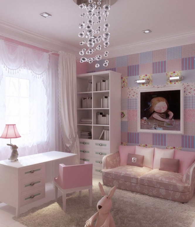 Pink Lilac Blue Girls Room 665x773
