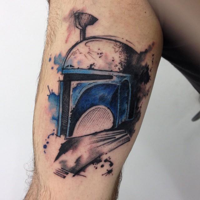 Watercolor Boba Fett Star Wars Tattoo On Leg By Ricardo Da Maia