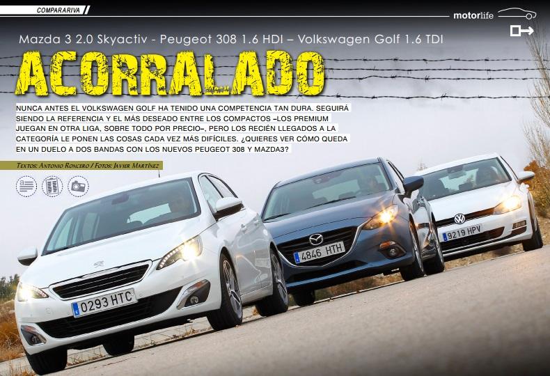 Comparativa Peugeot 308, Mazda 3, Volkswagen Golf